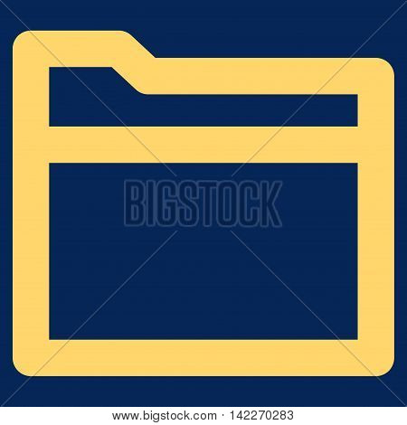 Folder glyph icon. Style is stroke flat icon symbol, yellow color, blue background.