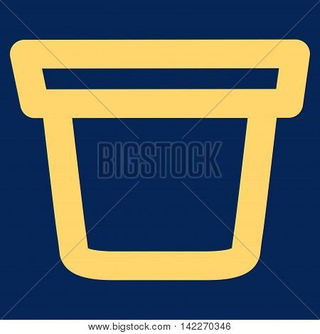 Pail glyph icon. Style is contour flat icon symbol, yellow color, blue background.