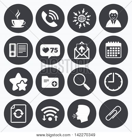 Calendar, wifi and clock symbols. Like counter, stars symbols. Office, documents and business icons. Coffee, phone call and businessman signs. Safety pin, magnifier and mail symbols. Talking head, go to web symbols. Vector
