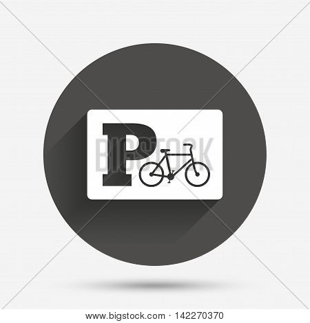 Parking sign icon. Bicycle parking symbol. Circle flat button with shadow. Vector