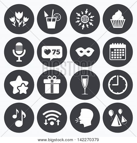 Calendar, wifi and clock symbols. Like counter, stars symbols. Party celebration, birthday icons. Cocktail, air balloon and champagne glass signs. Gift box, flowers and carnival symbols. Talking head, go to web symbols. Vector