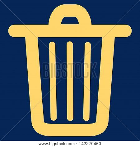 Trash Can glyph icon. Style is contour flat icon symbol, yellow color, blue background.