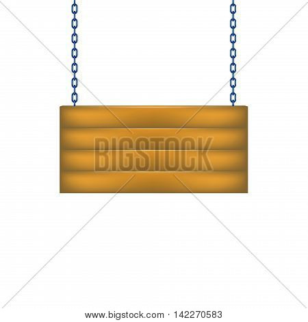 Wooden sign board hanging on chain in blue design on white background