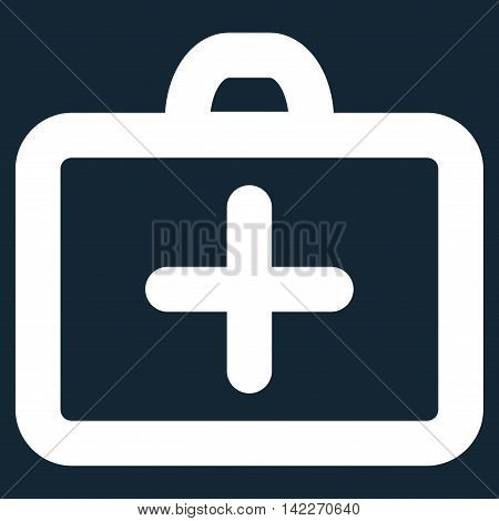 First Aid glyph icon. Style is outline flat icon symbol, white color, dark blue background.