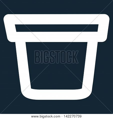 Pail glyph icon. Style is contour flat icon symbol, white color, dark blue background.