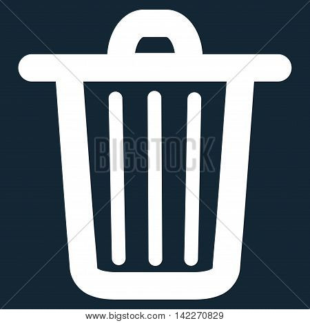 Trash Can glyph icon. Style is contour flat icon symbol, white color, dark blue background.
