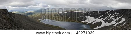Mountain Lake Panorama In Valley With Mosses And Rocks Covered With Lichens. Cloudy Sky Before Storm