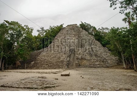 The Great Pyramid - Nohoc Mul - at Coba Mexico a magnificent Mayan site.
