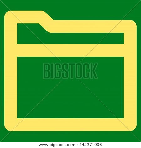 Folder glyph icon. Style is stroke flat icon symbol, yellow color, green background.