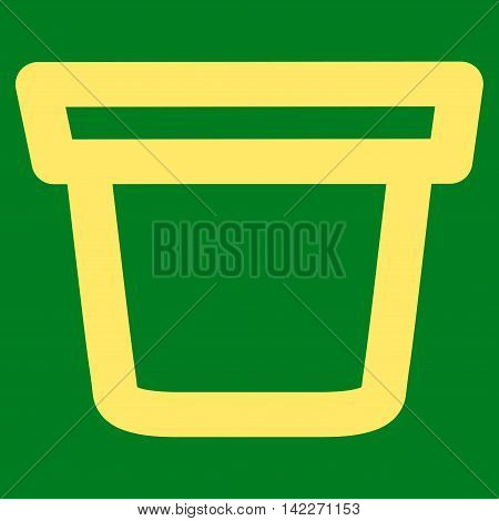 Pail glyph icon. Style is linear flat icon symbol, yellow color, green background.