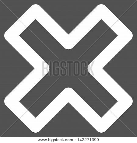 Delete X-Cross glyph icon. Style is stroke flat icon symbol, white color, gray background.