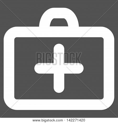 First Aid glyph icon. Style is stroke flat icon symbol, white color, gray background.
