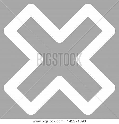 Delete X-Cross glyph icon. Style is outline flat icon symbol, white color, silver background.