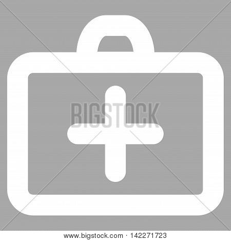 First Aid glyph icon. Style is linear flat icon symbol, white color, silver background.