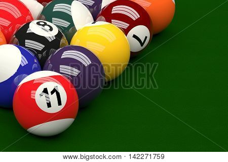 Pool Balls On Pool Table Background, 3D Rendering