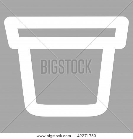 Pail glyph icon. Style is outline flat icon symbol, white color, silver background.