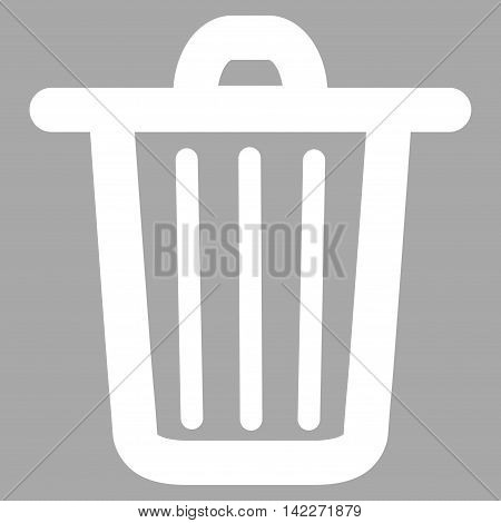 Trash Can glyph icon. Style is linear flat icon symbol, white color, silver background.
