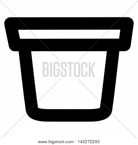 Pail glyph icon. Style is outline flat icon symbol, black color, white background.