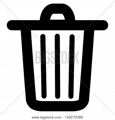 Trash Can glyph icon. Style is outline flat icon symbol, black color, white background.