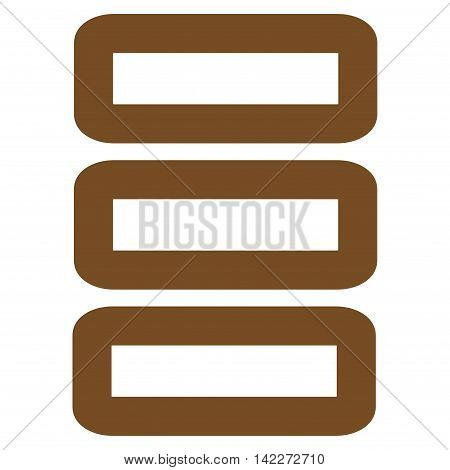 Database glyph icon. Style is outline flat icon symbol, brown color, white background.