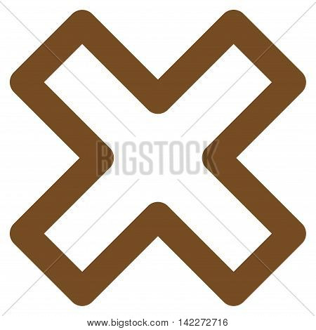 Delete X-Cross glyph icon. Style is stroke flat icon symbol, brown color, white background.