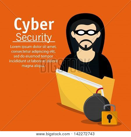 hacker thief file bomb padlock cyber security system protection icon. Colorfull illustration. Vector graphic