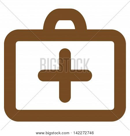 First Aid glyph icon. Style is contour flat icon symbol, brown color, white background.