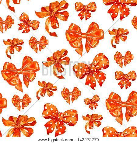 Halloween orange bows seamless pattern isolated on white