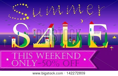 Summer Sale Inscription for retail. Cute houses on the night beach. Artistic font. Stars in the sky. Pink banner for custom text. Illustration