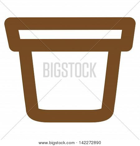 Pail glyph icon. Style is stroke flat icon symbol, brown color, white background.
