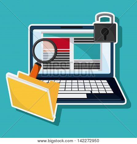 laptop file lupe padlock cyber security system protection icon. Colorfull illustration. Vector graphic