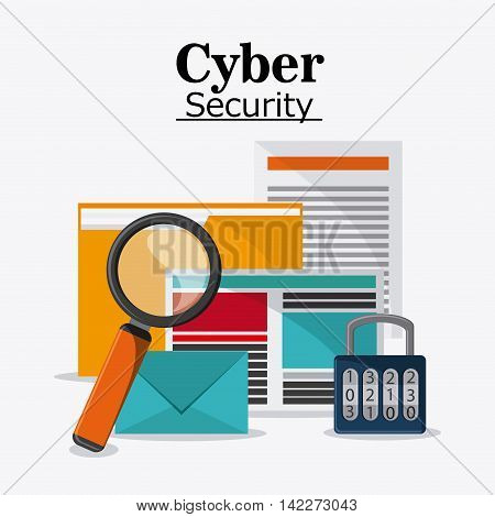 file padlock document envelope lupe cyber security system protection icon. Colorfull illustration. Vector graphic