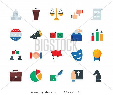 Politics colorful vector icons set flat style