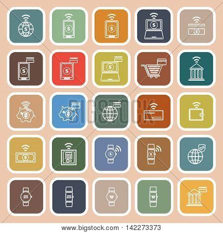 Fintech line flat icons on orange background, stock vetor