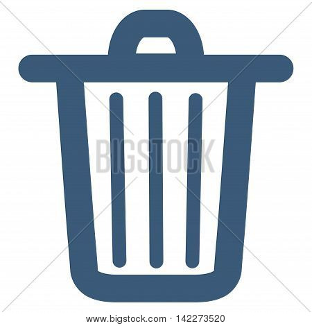 Trash Can glyph icon. Style is linear flat icon symbol, blue color, white background.