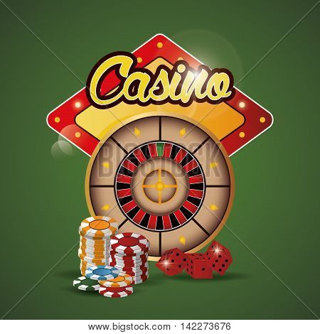 roulette chips dice casino las vegas game icon. Colorfull illustration. Vector graphic