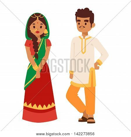 Vector illustration of Indian couple boy and girl standing figure. Indian people couple happy person. Ethnicity cheerful casual Indian people, traditional boy and girl character.
