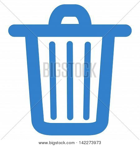 Trash Can glyph icon. Style is outline flat icon symbol, cobalt color, white background.