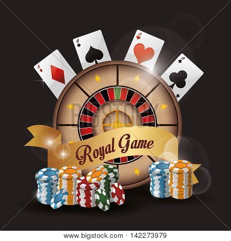 roulette cards chips casino las vegas game icon. Colorfull illustration. Vector graphic