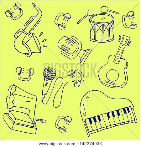 Doodle of hand draw music theme stock illustration
