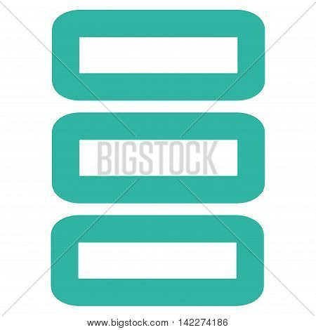 Database glyph icon. Style is linear flat icon symbol, cyan color, white background.