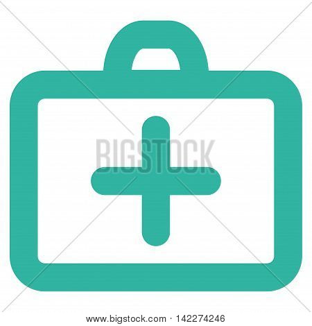 First Aid glyph icon. Style is stroke flat icon symbol, cyan color, white background.