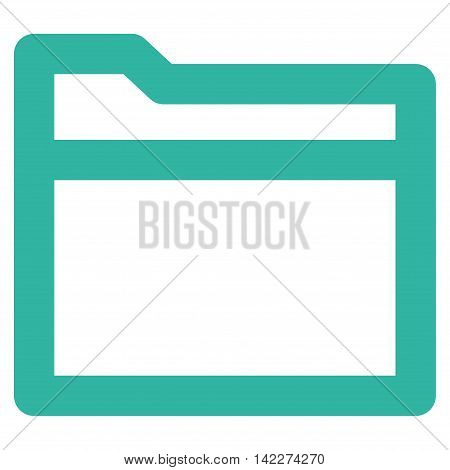 Folder glyph icon. Style is linear flat icon symbol, cyan color, white background.