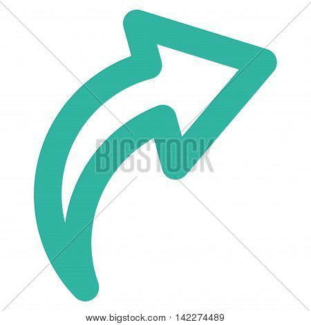 Redo glyph icon. Style is contour flat icon symbol, cyan color, white background.