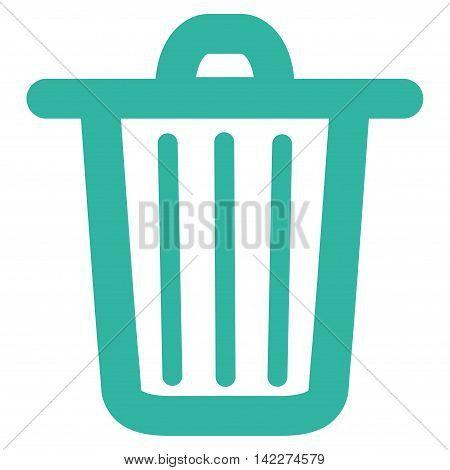 Trash Can glyph icon. Style is contour flat icon symbol, cyan color, white background.