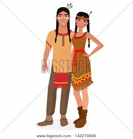 Native American Indian family. American Indians man and woman couple in traditional national clothes