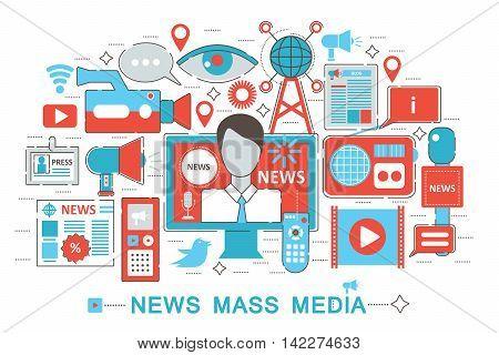 Modern Flat thin Line design News Mass Media concept for web banner website, presentation, flyer and poster