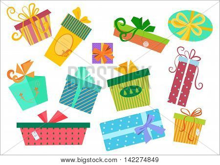 Flat design gifts boxes set. Vector Gift box present with ribbon. Birthday and christmas gift pack box collection