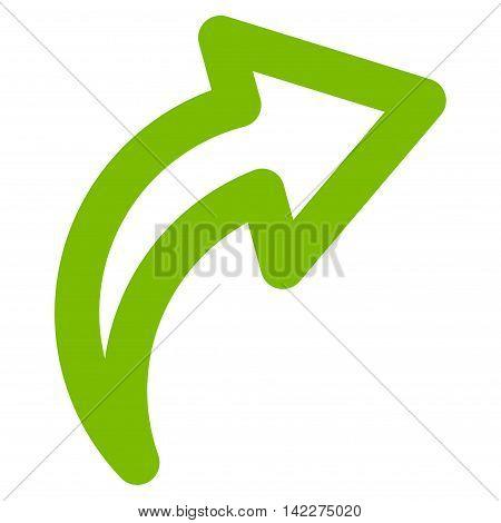 Redo glyph icon. Style is stroke flat icon symbol, eco green color, white background.