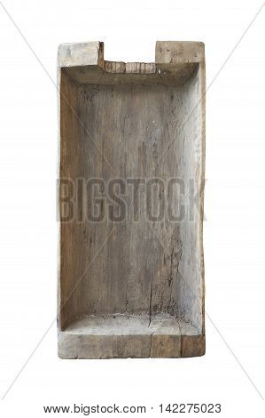Old wooden washtub isolated on a white background